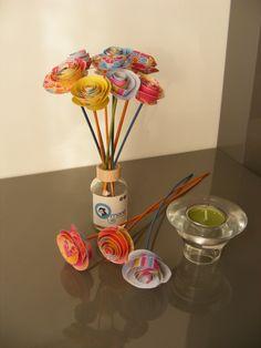 flores de papel y bambú para ambientadores Made by Qmono