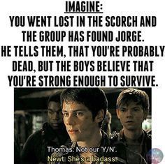 Of cource i am alive! Because of Thomas and Newt! Maze Runner Funny, Maze Runner Thomas, Maze Runner Movie, Maze Runner Trilogy, Maze Runner Cast, Maze Runner Series, Minho, Maze Runner Characters, The Scorch Trials