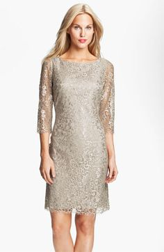 Calvin Klein Metallic Lace Sheath Dress available at #Nordstrom    Mother of the bride dress