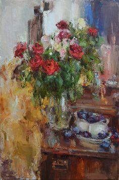 "Saatchi Art Artist Nelina Trubach-Moshnikova; Painting, ""Still Life with plums"" #art"