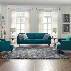 Teal Living Rooms, Living Room Sets, Rugs In Living Room, Living Room Designs, Living Room Decor, Barn Living, Room Colors, Sofa Design, Trellis Design
