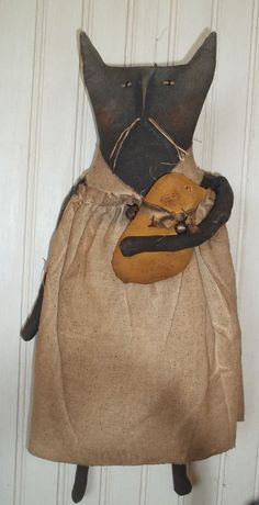 Primitive Grungy Missy Kitty Cat Doll with Her Little Easter Chick #NaivePrimitive