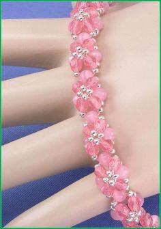 05-436 Flor rosa con grano del semilla Checo por annsbeadedjewelry