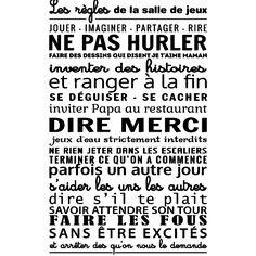 Stickers muraux citations - Sticker Les règles de la salle de jeux - ambiance-sticker.com