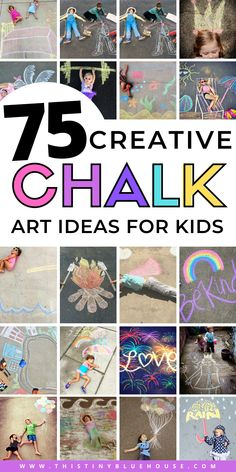 75 Super Fun Summer Sidewalk Chalk Art Ideas - This Tiny Blue House, The sight of kids drawing on the pavement with sidewalk chalk is practically guaranteed to induce a, Projects For Kids, Art Projects, Crafts For Kids, Summer Activities For Kids, Fun Activities, Drawing For Kids, Art For Kids, Sidewalk Chalk Art, Painting Competition