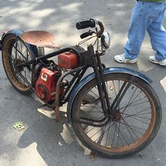 I would say this was my favorite thing I saw at the Steampunk Motorcycle, Bobber Motorcycle, Motorcycle Design, Bike Design, Vintage Bikes, Vintage Motorcycles, Custom Motorcycles, Custom Bikes, Motorized Bicycle