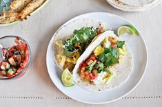 Crispy Margarita Chicken Tacos with Strawberry Avocado Salsa I howsweeteats.com
