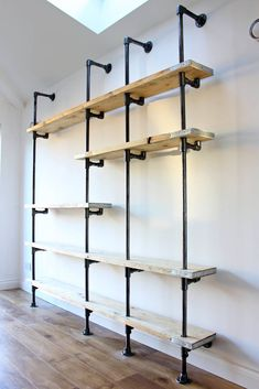 Scaffolding Boards and Dark Steel Pipe Wall Mounted and Floor Standing Industrial Chic Shelving/Bookcase - Bespoke Urban Furniture Design Urban Furniture, Industrial Furniture, Furniture Design, Industrial Style, Industrial Pipe Shelves, Galvanized Pipe Shelves, Metal Pipe Shelves, Industrial Shop, White Industrial
