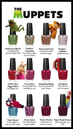 The Muppets & Muppettes OPI is here! Excuse Moi!, Warm and Fozzie, and Designer...de Better! are AWESOME... i think they re-did the glitter formula they've been using for Alice in Wonderland and Burlesque collections so it wont chip as easy! yah!