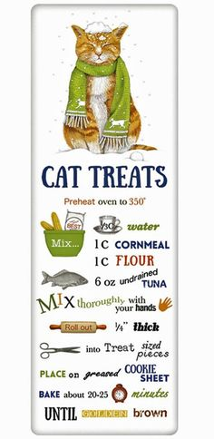 Christmas Cat Treats Recipe 100% Cotton Flour Sack Dish Towel Tea Towel