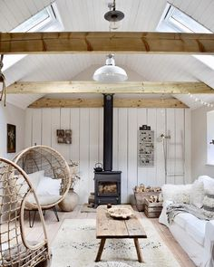 Rattan hanging chair, wood burning stove, antique wooden floor and a deconstructed chair create a bohemian, modern rustic farmhouse look Turbulence Deco, Cottage Interiors, Modern Farmhouse Interiors, Scandinavian Home, Wooden Flooring, Living Room Designs, Living Spaces, New Homes, Sweet Home