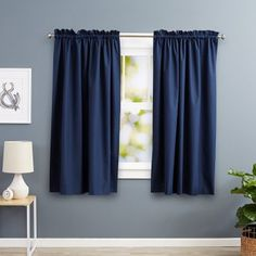 Deconovo Blackout Curtains Bedroom Super Soft Thermal Insulated Curtains Blackout Eyelet Blackout Curtains 46 x 54 Inch with Two Matching Tie Backs Black 2 Panels Types Of Curtains, No Sew Curtains, Kids Curtains, Cool Curtains, Window Curtains, Navy Curtains, Insulated Curtains, Blackout Drapes, Room Darkening Curtains