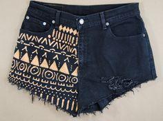 bleached denim / tribal printed shorts / hand painted shorts / short shorts / distressed shorts medium / large m/l. $32.00, via Etsy.