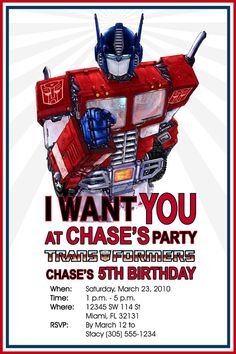 Transformers Bumblebee Photo Birthday Invitation Design No 3