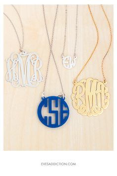 Monogram Necklaces - the perfect gift for anyone on your list. Shop 100s of styles in silver, gold, rose gold and acrylic. Customize online and save 30% with free shipping! #gifts