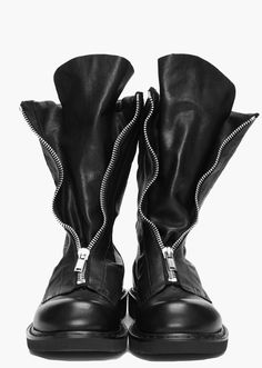 Rick Owens black leather zip #boots