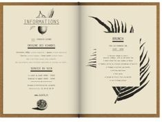 We were tasked with designing the club and restaurant's visual identities. For the menus, the restaurant's cuisine reminded us of French authentic culinary tradition which we s… Menu Restaurant, Restaurant Design, Menu Bar, Restaurant Identity, Restaurant Concept, Drink Menu Design, Cafe Menu Design, Book Design, Layout Design