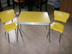 VINTAGE RARE DECO 1950's CHILD'S FORMICA TOP TABLE I had this. I have a similar set in gray formica.