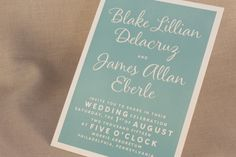 Letterpress printed in charming Robin's Egg blue.