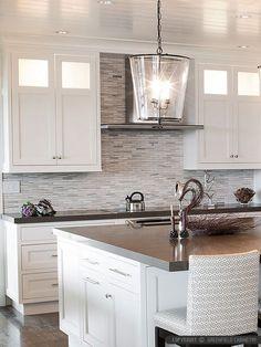 Modern white gray marble kitchen backsplash tile from Backsplash.com
