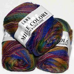 Mille Colori Socks & Lace Luxe Blau-Lila-Gelb - Heikes Handgewebtes: Aus 73% Schurwolle (superwash), 25% Polyamid und 2% Polyester für NS 2,5-3,5; 100g = 400m LL - 73% wool (superwash), 25% polyamide and 2% polyester for NS 2.5-3.5; 100g = 400m