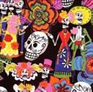 One of my favorite handmade dresses is of this fabric. I wear it all year, not just on el Dia de los Muertos!