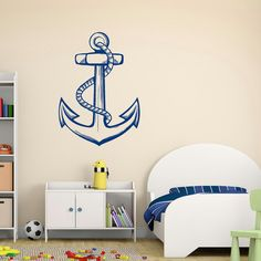 Nautical Anchor Wall Decal- Sea Ocean Wall Decal Stickers Living Room Bedroom Kids Room Nautical Nursery Wall Art Anchor Wall Decor C088