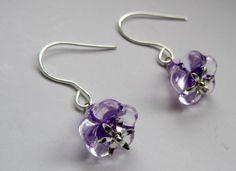 Violet Glass Bell Flowers Silver Flower by Scentedlingerie on Etsy, $13.00