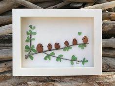Sea Glass Art, Beach Brick Art, Home Decor, Nova Scotia, Maritime, Birds, Tree