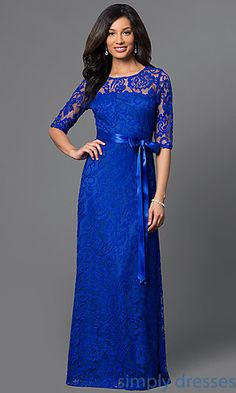 Long Lace Dress with Half Sleeves by Sally Fashion