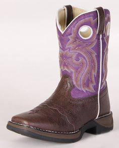 Details about kids girls toddlers brown cowgirl boots leather ...