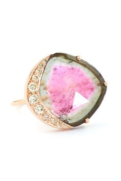 A diamond may not be for every bride. Check out these unconventional engagement rings!   Here: Celine Daoust Watermelon Tourmaline Ring