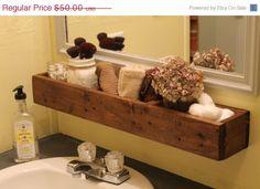 ON SALE Reclaimed Wood Hanging Bathroom Shelf by LittleRedHenAndCo, $40.00