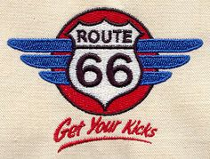 """Embroidery Designs at Urban Threads - Route 66 (#UT1331) 3.69""""w x 2.75""""h 30 December 2010"""