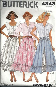 Misses Flared Skirt Pattern Butterick 4843 by DawnsDesignBoutique, $6.00