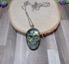 Labradorite Skull Necklace  Carved Gemstone by BohemianZenBoutique