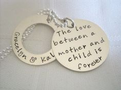 Personalized Hand Stamped Jewelry, Mommy Jewelry, Mommy Necklace, Love Between a Mother and Child. $56.00, via Etsy.