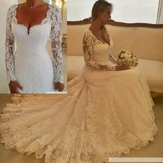 Aliexpress.com : Buy Vestido De Noiva Renda White A Line Vintage Wedding Dresses Long Sleeve Lace Bridal Gowns Casamento Custom Made W3985 from Reliable gown manufacturers suppliers on I Do Wedding Dress Store