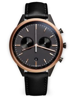 C41 Chronograph watch in PVD rose gold / with black nappa leather strap