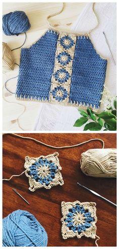 Halter Crop Top Crochet Tutorial - Crochet - Knitting Tutorials And Patterns . Halter Crop Top Crochet Tutorial - Crochet - Knitting Tutorials And Patterns # Crocheting Tutorial. Poncho Crochet, Crochet Diy, Crochet Woman, Tutorial Crochet, Crochet Ideas, Learn To Crochet, Crochet Stitch, Crochet Summer Tops, Crochet Halter Tops