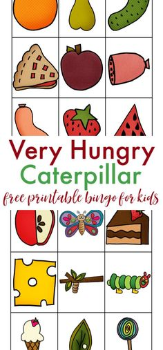 We absolutely love Eric Carle's books and one of our family's favorites is the Very Hungry Caterpillar. That's why we love playing this Very Hungry Caterpillar bingo game. hungry Free Printable Very Hungry Caterpillar Inspired Bingo Cards Very Hungry Caterpillar Printables, The Very Hungry Caterpillar Activities, Hungry Caterpillar Craft, Preschool Books, Preschool Activities, Book Activities, Bingo For Kids, Eric Carle, Bingo Cards