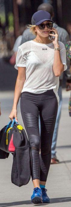 Hailey Baldwin: Shirt – Rta  Purse – Saint Laurent  Pants – Alo Yoga