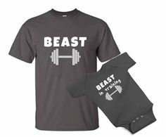 BEAST in training dad and baby one piece bodysuit Tshirt matching set - father's day - crossfit gym lifting daddy dad and son gift set