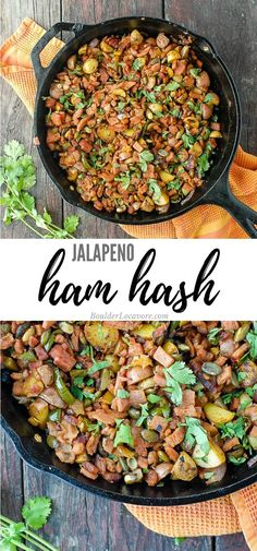 Hearty, spicy Jalapeno Ham Hash is the ultimate ham leftovers recipe. Full of great flavor, potatoes, ham, pepitas, smoked paprika and more! Deli ham can also be used. #ham #easyrecipe #leftoversrecipe