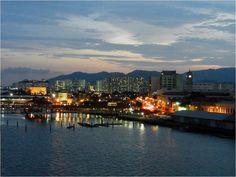 Penang, Malaysia at sunset - view from cruise ship balcony
