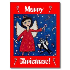 Candy Cane Christmas Angel and Cat Postcard
