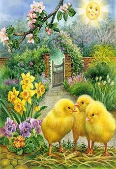 Chick DIY Full Diamond Painting Embroidery Cross Stitch Craft Home Decor Vintage Cards, Vintage Postcards, Easter Pictures, Chicken Art, Chickens And Roosters, Easter Parade, Easter Art, Cross Paintings, Vintage Easter