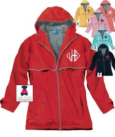 Wind & Waterproof Monogrammed Rain Jacket - Ladies - NOW in 6 Colors! - Miss Lucy's Monograms