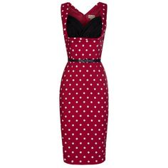 Ladies Dress - Lindy Bop Vanessa Red Polka Pencil Dress