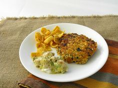 Salmon and Fritos  Corn Chip Burgers with Avocado Sauce